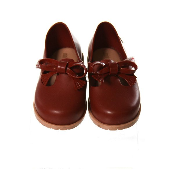 MINI MELISSA RED SHOES WITH BOWS *SIZE TODDLER 7, VGU - SMALL SPOTS OF DISCOLORATION