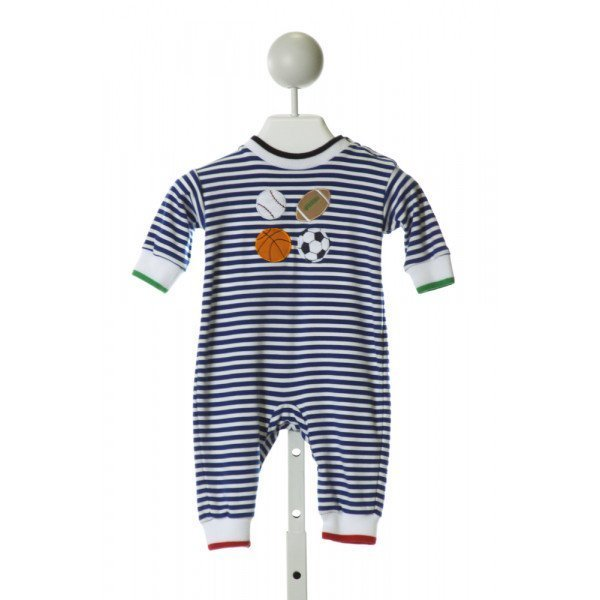 FLORENCE EISEMAN  ROYAL BLUE  STRIPED EMBROIDERED KNIT ROMPER