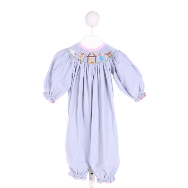 STELLYBELLY  LT BLUE CORDUROY  SMOCKED LONGALL/ROMPER WITH RIC RAC