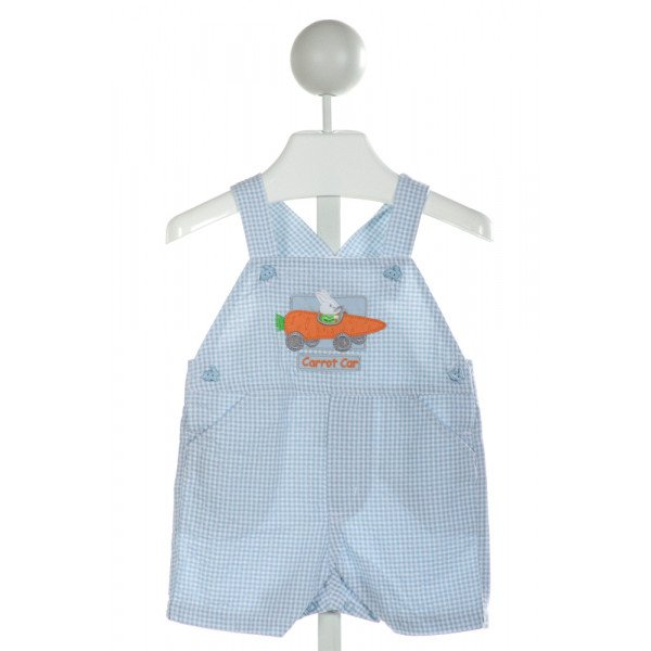 GOODLAD  LT BLUE SEERSUCKER GINGHAM EMBROIDERED JOHN JOHN/ SHORTALL