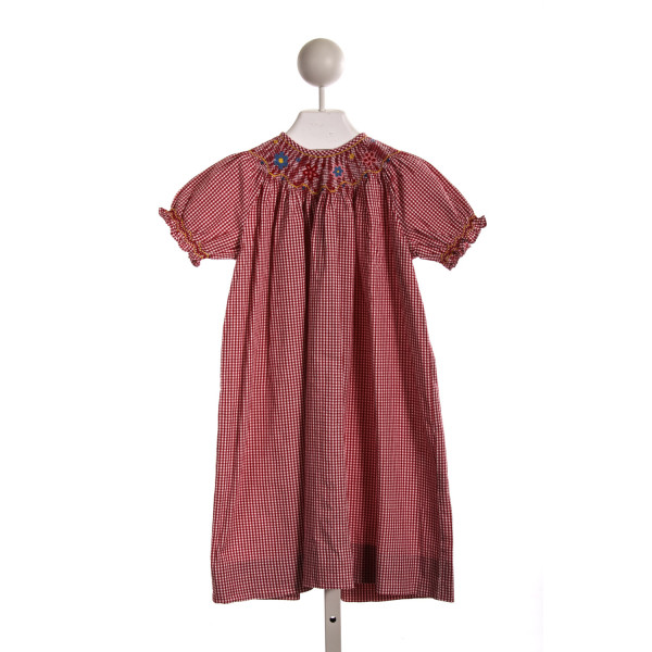 PLANTATION SHOP RED GINGHAM FLOWER SMOCKED DRESS *SLIGHT IMPERFECTION (LIGHT WASH WEAR)