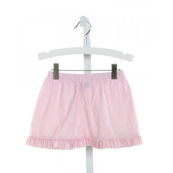 CASTLES & CROWNS  LT PINK SEERSUCKER STRIPED  SHORTS WITH RUFFLE