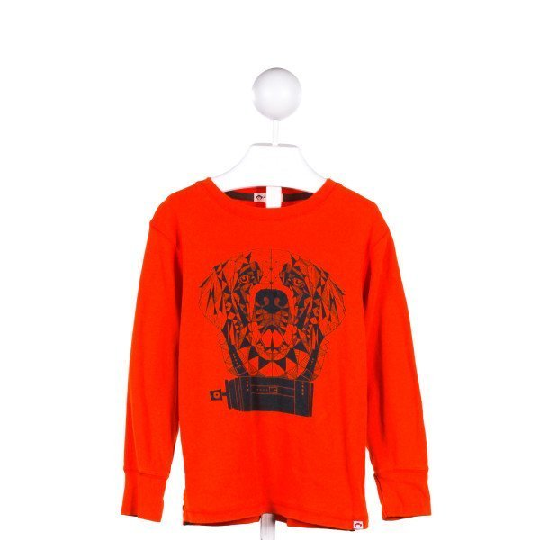 APPAMAN  ORANGE KNIT  PRINTED DESIGN KNIT LS SHIRT