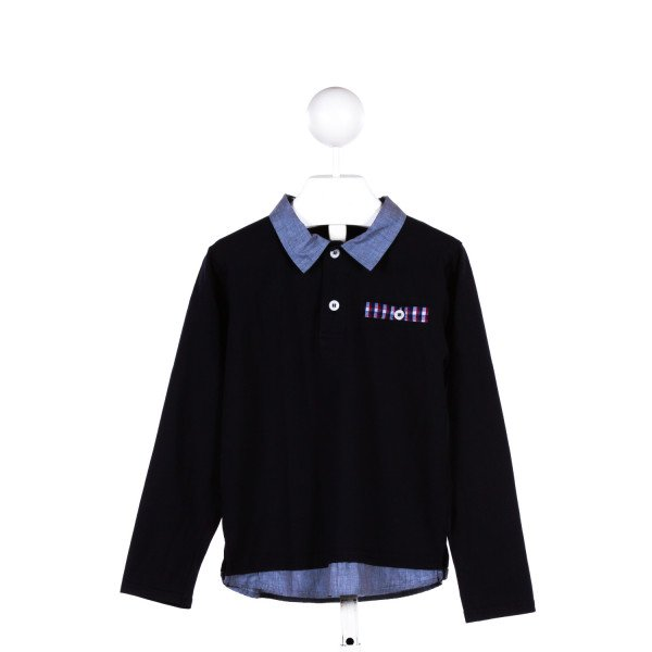 ANDY & EVAN  NAVY KNIT   KNIT LS SHIRT