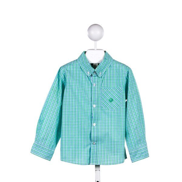 ANDY & EVAN  GREEN  PLAID  CLOTH LS SHIRT