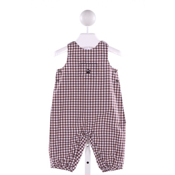 JACADI  BROWN  GINGHAM EMBROIDERED LONGALL/ROMPER