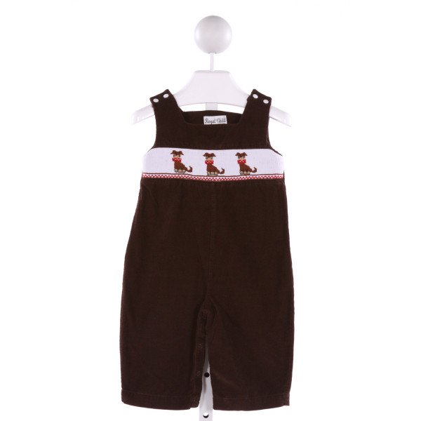 ROYAL CHILD  BROWN CORDUROY  SMOCKED LONGALL/ROMPER