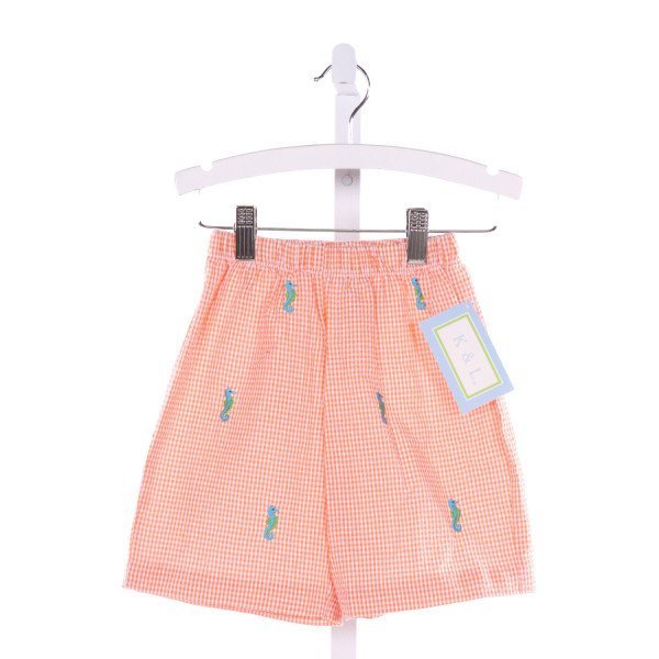 K & L  ORANGE  GINGHAM EMBROIDERED SHORTS