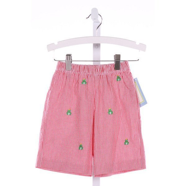 K & L  RED  GINGHAM EMBROIDERED SHORTS