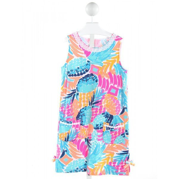 LILLY PULITZER  MULTI-COLOR  PRINT APPLIQUED KNIT DRESS