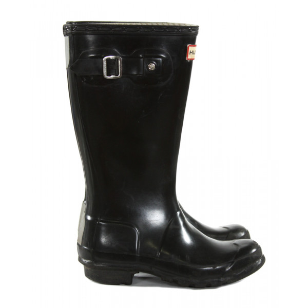 HUNTER BLACK BOOTS *SIZE CHILD BOY 2, GIRL 3, GUC - SCUFFING AND WEAR