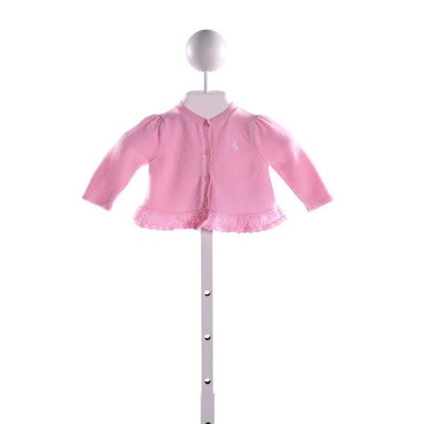 RALPH LAUREN  PINK    CARDIGAN WITH RUFFLE