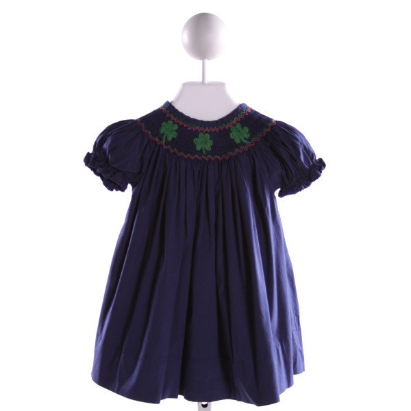NOLA SMOCKED   NAVY   SMOCKED DRESS WITH RUFFLE