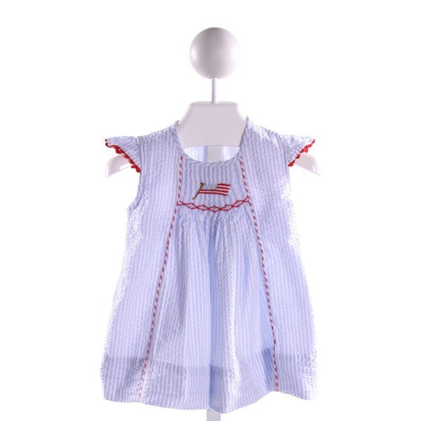 THE SMOCKLING  LT BLUE SEERSUCKER STRIPED SMOCKED DRESS WITH RIC RAC
