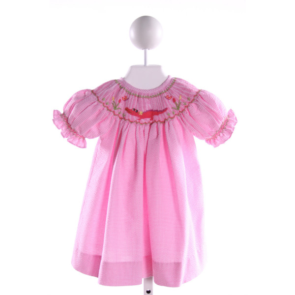 CLASSY COUTURE  PINK SEERSUCKER GINGHAM SMOCKED DRESS WITH RUFFLE