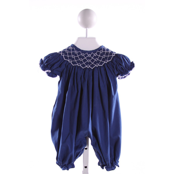 NOLA SMOCKED   ROYAL BLUE   SMOCKED ROMPER WITH RIC RAC