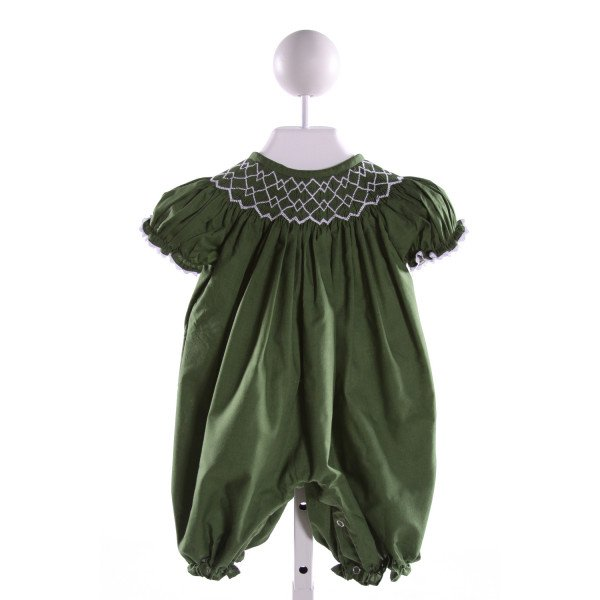 NOLA SMOCKED   GREEN   SMOCKED ROMPER WITH RIC RAC