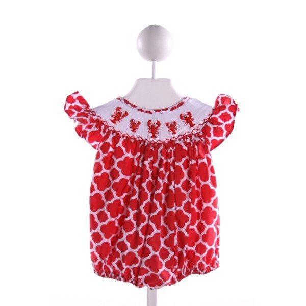 NOLA SMOCKED   RED  PRINT SMOCKED BUBBLE WITH RUFFLE