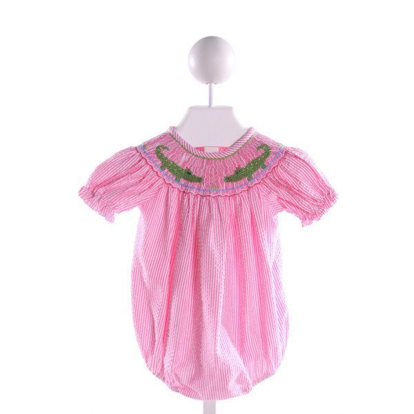CLASSIC WHIMSY  PINK SEERSUCKER STRIPED SMOCKED BUBBLE WITH RUFFLE