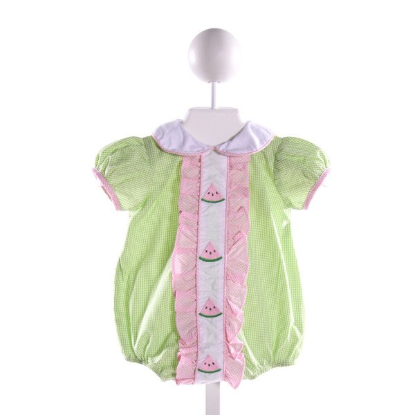 LULU BEBE  MULTI-COLOR  GINGHAM EMBROIDERED BUBBLE WITH RUFFLE