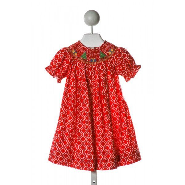 BE MINE  RED  PRINT SMOCKED DRESS WITH RUFFLE