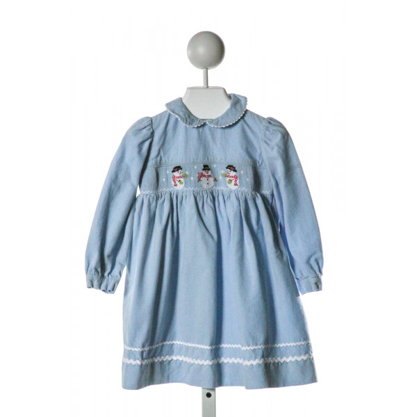 COLLECTION BEBE  LT BLUE CORDUROY  SMOCKED DRESS WITH RIC RAC