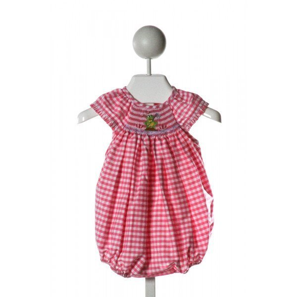 SMOCKED GIRAFFE  HOT PINK  GINGHAM SMOCKED BUBBLE WITH RUFFLE