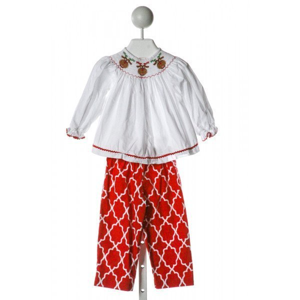 VIVE LA FETE  WHITE  PRINT SMOCKED 2-PIECE OUTFIT WITH RIC RAC
