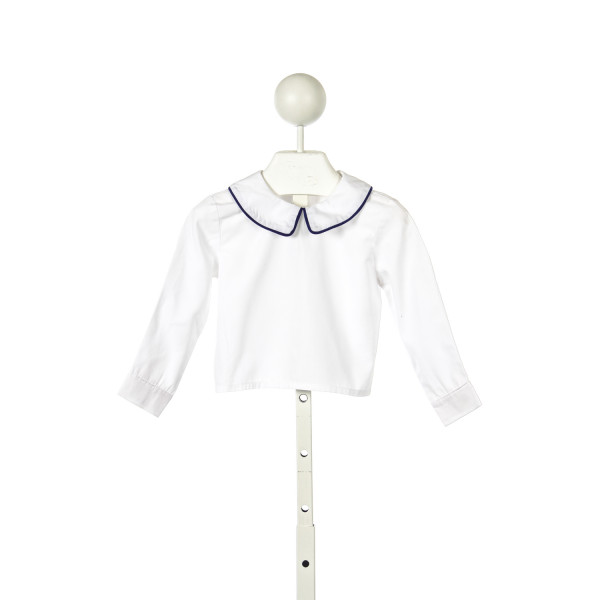CUPCAKES ORIGINALS WHITE LONG SLEEVE SHIRT WITH BLUE CORD PIPING