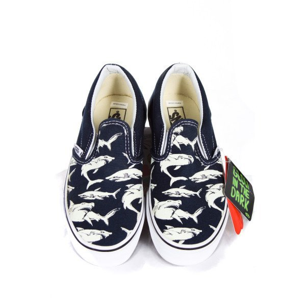 VANS NAVY AND WHITE GLOW IN THE DARK SHOES CHILD SIZE 2