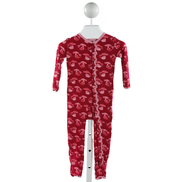 KICKEE PANTS  RED   PRINTED DESIGN KNIT ROMPER WITH RUFFLE
