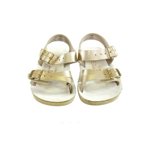 GOLD SUN SANS/ SALTWATER SANDALS *SIZE INFANT 3, VGU - DISCOLORATION, MOSTLY ON SOLES