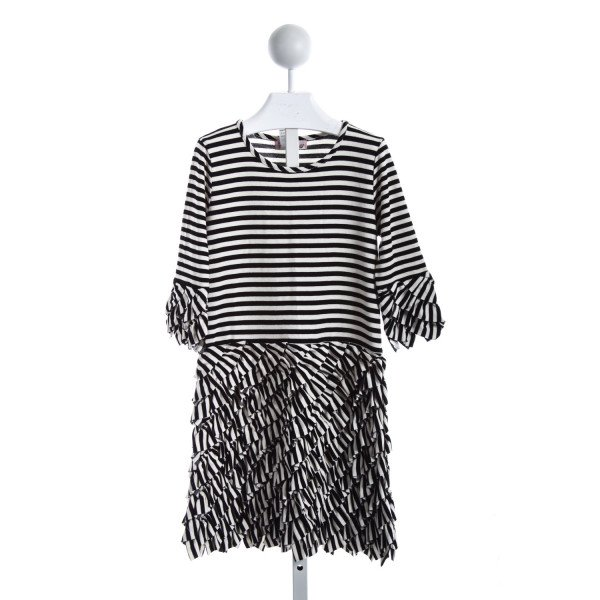 HALABALOO BLACK AND CREAM STRIPED KNIT DRESS
