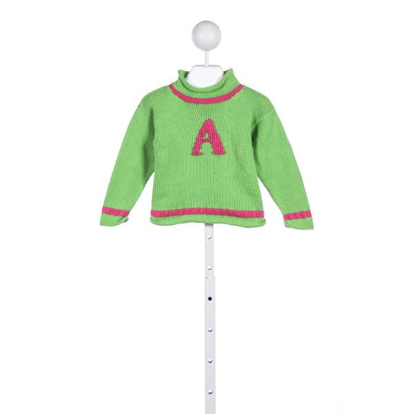 "CLAVER PINK AND GREEN SWEATER WITH THE LETTER ""A"""