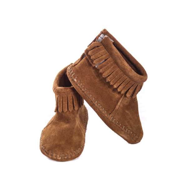 MINNETONKA BROWN BOOTS WITH FRINGE TODDLER SIZE 4