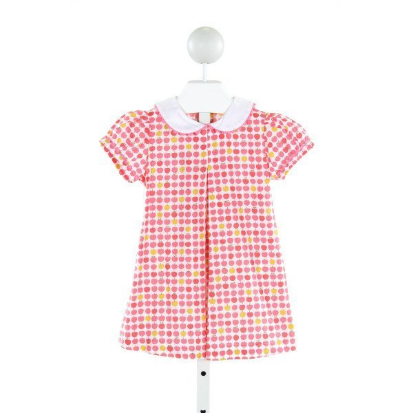 PRIM & PROPER  PINK COTTON PRINT  DRESS WITH RIC RAC