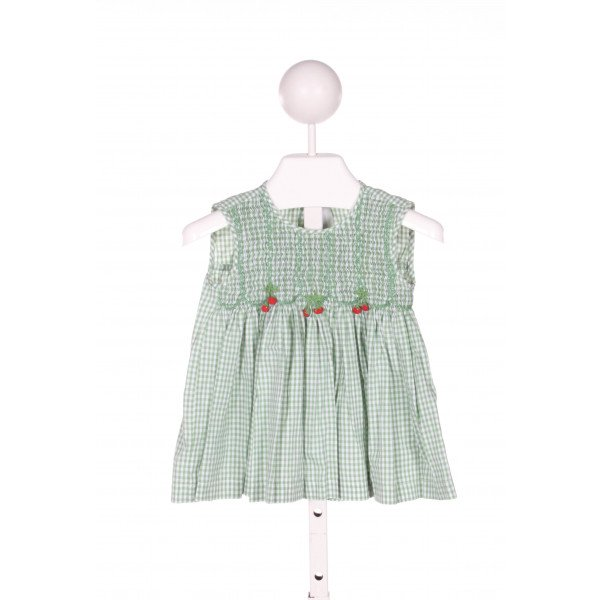 FANTAISIE KIDS  GREEN COTTON GINGHAM SMOCKED CLOTH SS SHIRT
