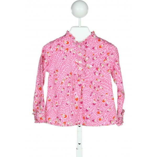 LILLY ASHLEY  PINK COTTON PRINT  CLOTH LS SHIRT WITH RUFFLE