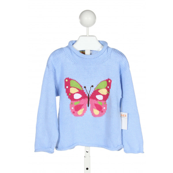 CLAVER  BLUE COTTON PRINT  SWEATER