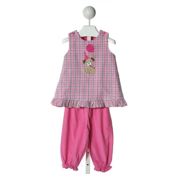 GLORIMONT  MULTI-COLOR CORDUROY PLAID APPLIQUED 2-PIECE OUTFIT