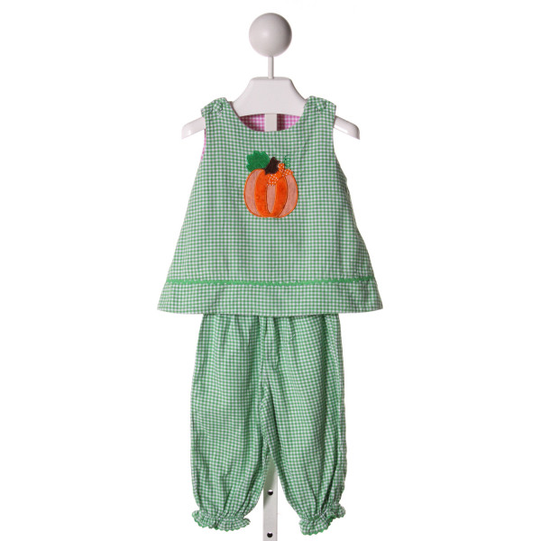 GLORIMONT  GREEN COTTON GINGHAM APPLIQUED 2-PIECE OUTFIT