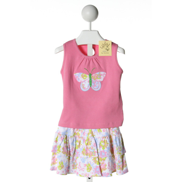 LUIGI  MULTI-COLOR KNIT PRINT APPLIQUED 2-PIECE OUTFIT WITH PICOT STITCHING