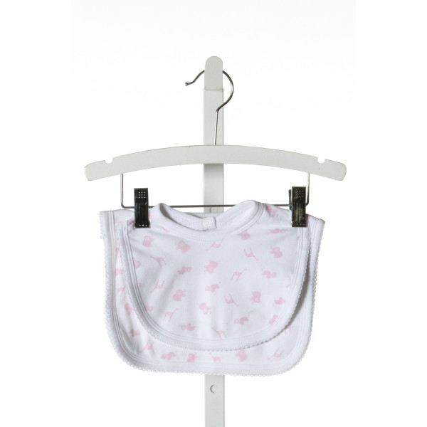 BELLA BLISS  LT PINK KNIT PRINT  BIB WITH PICOT STITCHING