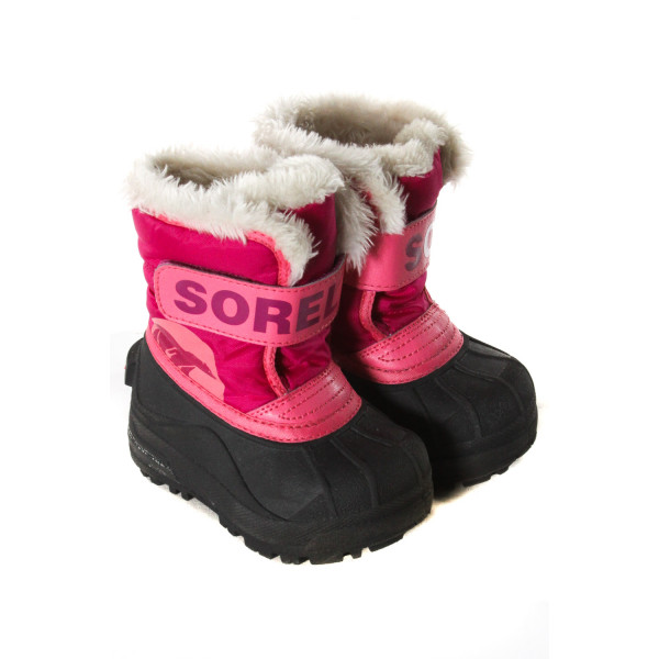 SOREL PINK AND BLACK SNOW BOOTS WITH FUR TODDLER SIZE 6 *VGU (LIGHT WEAR)