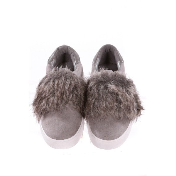 MICHAEL KORS GRAY SHOES WITH FAUX FUR *SIZE 13, EUC - VERY SLIGHT SCUFFING