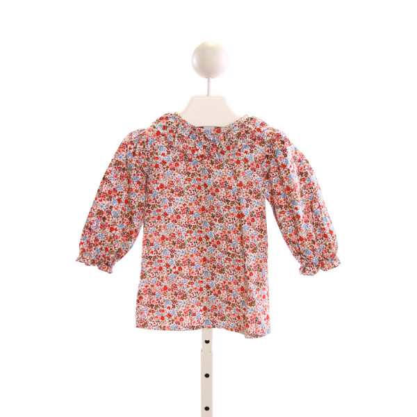 SMOCKINGBIRD  MULTI-COLOR  FLORAL  CLOTH LS SHIRT WITH RUFFLE