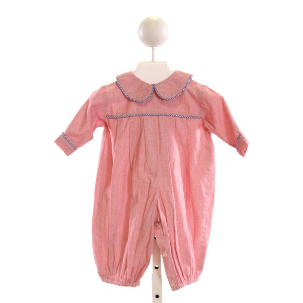 LULLABY SET  RED COTTON STRIPED  LONGALL/ROMPER