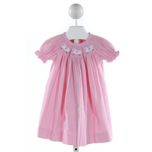 CASTLES & CROWNS  HOT PINK CORDUROY  SMOCKED DRESS WITH RUFFLE