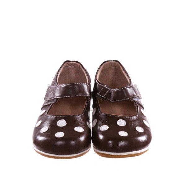 BROWN PUDDLE JUMPER SHOES WITH WHITE POLKA DOTS *SIZE 8, EUC