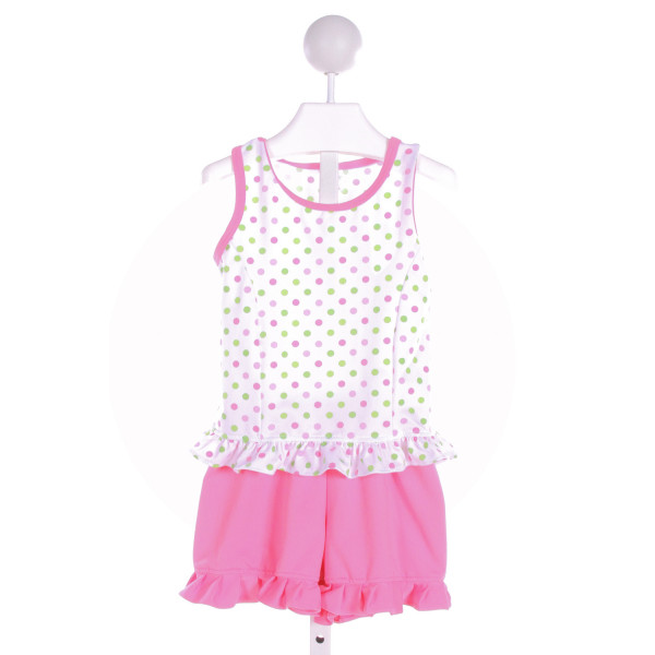 CHEZ AMI  WHITE  POLKA DOT  2-PIECE OUTFIT WITH RUFFLE